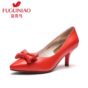 富贵鸟 年春季新品 时尚头层羊皮尖头性感酒杯跟女鞋高跟单鞋女鞋