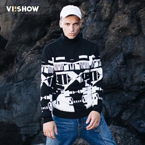 VIISHOW2017秋装新品休闲针织衫男高领撞色男士毛衣外套毛线衣