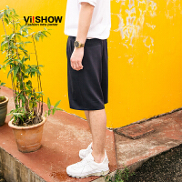 viishow夏季新品休闲短裤男舒适男士短裤五分裤松紧裤带薄款黑