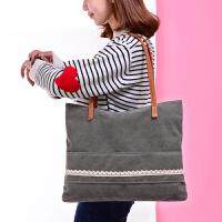 2016日韩文艺帆布包女单肩包简约森系学生环保袋大容量女包手提购物袋