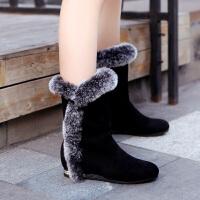 彼艾2016欧美冬季女雪地靴女式兔毛女靴子内增高跟平底中筒靴女鞋