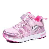 史努比童鞋儿童运动鞋加绒保暖女童鞋可爱粉色波点中小童鞋