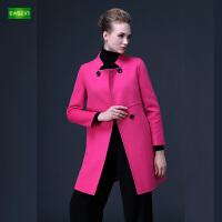 逸纯印品(EASZin)女装 双面呢羊毛大衣女中长款 秋冬新款高端毛呢外套大码呢子外套