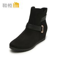 秋冬新品 shoebox鞋柜冬季新款欧美简约女靴 圆头中跟坡跟短靴1115505228