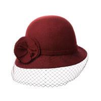 帽子女冬天英伦礼帽秋冬名媛毛毡帽冬季羊毛呢帽网纱渔夫帽