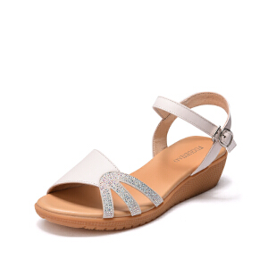 富贵鸟(FUGUINIAO)2017新款夏季女鞋坡跟凉鞋女 时尚水钻淑女厚底一字带凉鞋