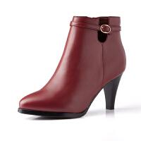 富贵鸟女靴子 秋冬季新款高跟短靴女尖头单靴马丁靴短筒靴