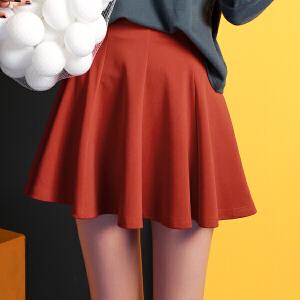 【9.21超级品牌日】七格格2017砖红色气质大摆百褶伞裙高腰半身裙短裙女N321