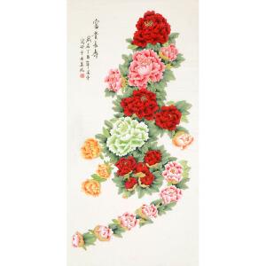 北京美协会员 凌雪《富贵长寿》136cmx68cm LX108