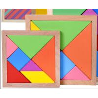 益智趣味玩具,七巧板,拼图拼板,木质带框,开动脑筋
