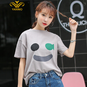 演沃 2017夏季笑脸印花宽松短袖T恤