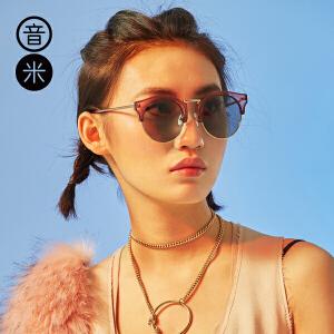 音米2017时尚复古半框太阳镜女潮偏光镜男驾驶镜防紫外线太阳眼镜 AASBPB230