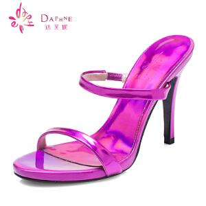 Daphne/达芙妮15年新品女鞋 时尚细高跟亮面PU露趾凉鞋1015303045