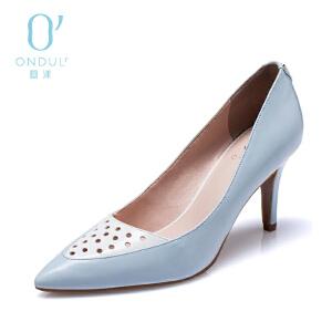 Daphne/达芙妮圆漾春款高跟鞋优雅拼色PU皮尖头镂空细跟女单鞋子