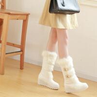 彼艾2016冬季毛靴中筒雪地靴内增高女靴厚底靴平跟靴保暖棉靴