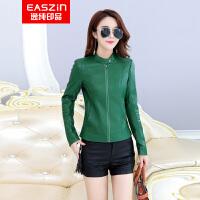 逸纯印品(EASZin)皮西服 女士2017春季新款短款仿真皮皮衣 机车皮单西装外套 韩版修身