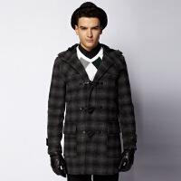 【当当自营】 Olomo 男款牛角扣连帽格纹大衣 11177104