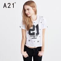 以纯A21女装圆领短袖T恤 2017夏季新品时尚印花数字撞色青春女生t恤衫