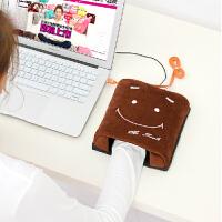 伊暖儿 新品USB暖手鼠标垫电暖发热鼠标垫-棕色笑脸(基准型)