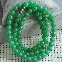 收藏级水润A货满绿圆珠项链--高贵典雅