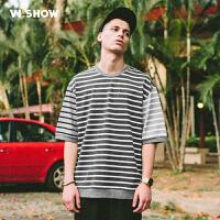 VIISHOW2017夏季新款圆领套头短袖T恤男黑白条纹棉质男士短T