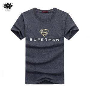 EASZin逸纯印品 男装短袖t恤夏 韩版圆领金超人印花男士大码加肥半袖体恤衫