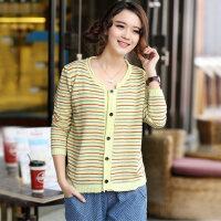 春季新款女装韩版女毛衣打底衫上衣条纹针织衫开衫外套