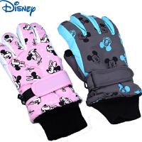 迪士尼米妮米奇女童男童儿童五指滑雪手套冬保暖加厚手套小学生分指手套