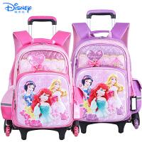 Disney/迪士尼 儿童拉杆书包小学生女童公主拉杆可拆卸三轮爬楼拉杆书包PB0359