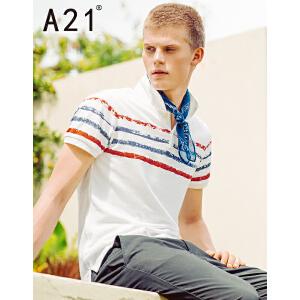 以纯线上品牌a21 2017夏装新款polo衫男英伦简约条纹翻领短袖