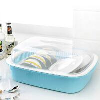 双庆 带盖密封双层沥水碗碟架大号碗柜厨房碗碟沥水置物架滴水透明碗架 韩式碗架 湖蓝色 1061