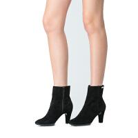 伊贝拉(YI-BELLA)秋冬季新款女靴黑色真皮面百搭女靴短筒靴高跟鞋女鞋女靴