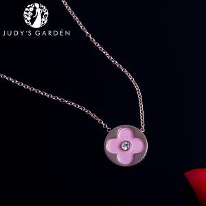 【茱蒂的花园】樱花粉色四叶草项链镶锆钻电镀真金K金玫瑰金锁骨链吊坠链女款女式春夏少女粉送女友生日礼物