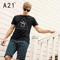 以纯A21男士短袖T恤 纯棉修身时尚黑色印花男装 夏装衣服潮流青年上衣