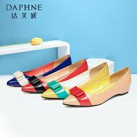 Daphne/达芙妮秋季新品 时尚尖头蝴蝶结浅口单鞋