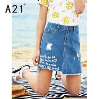 以纯线上品牌a21 夏季新款牛仔短裙女 时尚破洞字母印花百搭A字裙纯棉牛仔裙女