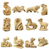 桃木属相立体雕刻饰品摆件挂饰十二生肖件鼠牛虎兔龙马羊猴鸡狗猪