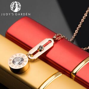 【茱蒂的花园】罗马数字圆形锆钻耳钉项链套装吊坠颈链耳环耳线玫瑰金锁骨链女士时尚耳坠线送女友老婆生日礼物