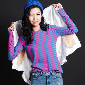 【9.21超级品牌日】七格格2017新款条纹色彩拼色修身个性款长袖T恤 女X788