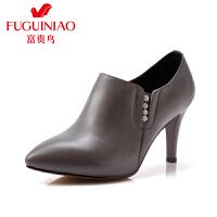 富贵鸟 秋季新款及踝靴 尖头高跟鞋细跟酒杯跟英伦风女鞋踝靴