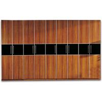 尚满卧室家具 浅胡桃实木边框系列黑色亚克力腰线大衣柜 二、三、四、五门衣柜 中式现代古典衣柜