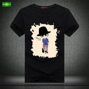 逸纯印品(EASZin)16夏季新款韩版短袖T恤卡通人烫画歪脖印花男士大码加肥T恤衫潮男