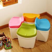 【可货到付款】欧润哲4只装 儿童糖果色塑料储物凳子收纳箱 收�{凳 换鞋凳 防水塑料整理箱
