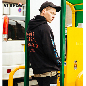 VIISHOW2017秋装新品字母印花休闲卫衣男连帽衫男士外套运动衫
