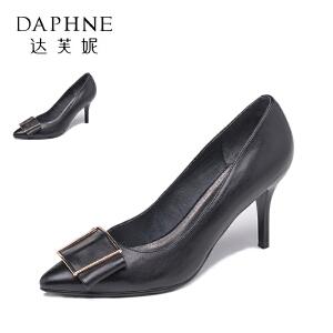 Daphne/达芙妮  蝴蝶结细高跟浅口女单鞋10 404017