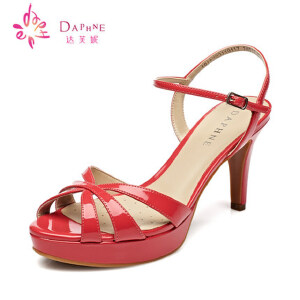 Daphne达芙妮 夏季 凉鞋超高细跟PU优雅细带女鞋1015303119