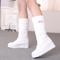 彼艾2016冬季羽绒靴防水雪地靴厚底女靴子保暖中筒靴棉鞋平底女鞋