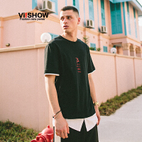 VIISHOW2017夏装圆领套头休闲短袖T恤男纯棉黑白撞色假两件短T