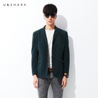 优鲨秋季新款男士西装时尚复古灯芯绒薄西服外套 修身韩版潮