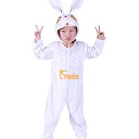 圣诞节儿童白色演出装跳舞蹈表演衣服男冬女小白兔子白色动物造型服套装